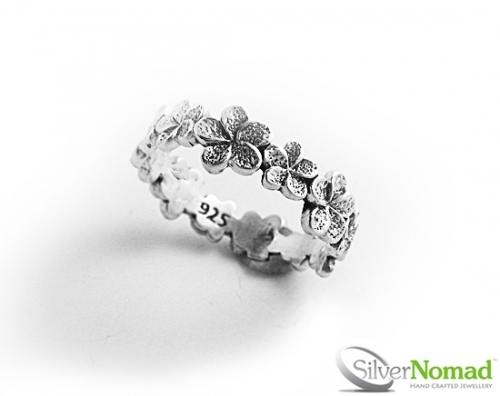 925 Sterling Silver Nomad Flower Band Ring by Silver Nomad Jewellery UK