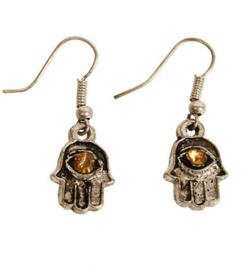 Antique Silver-Coloured Hamsa Hand Earrings with Orange Stone