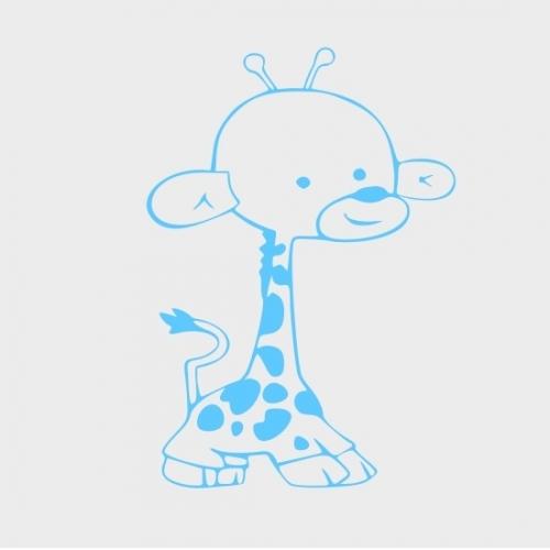 Jungle Baby Giraffe Wall Sticker Vinyl Decal Wall Art Blue