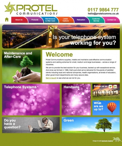 Protel Communications, Bristol - rebranding, print, responsive website design and build