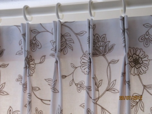 Bespoke Double Pinch Pleat Curtain In Findon.  Handmade double pinch pleats use less fabric than Triple pleats and often fit better into confined space