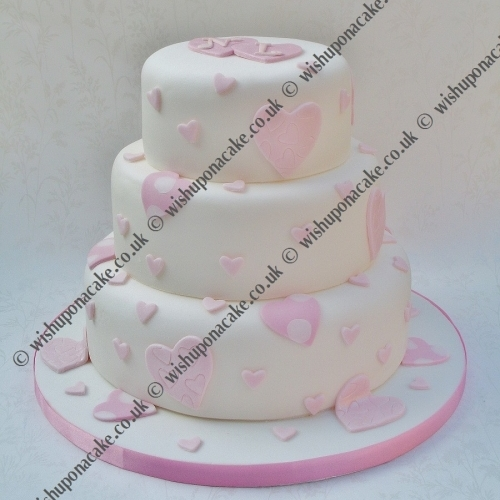 Falling Hearts Wedding Cake