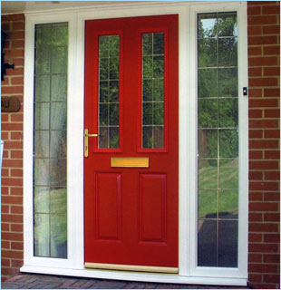 Red Composite door with double side panels