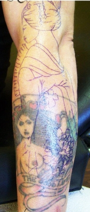 West Coast Tattoos' Cover-up work by Blan. Before