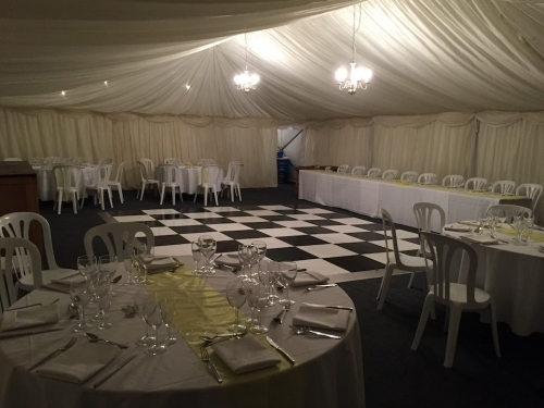 Wedding Marquee with Black and White Dance Floor