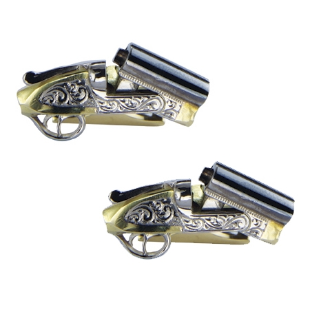 18ct Gold Cufflinks in the form of Sawn-Off Shotguns