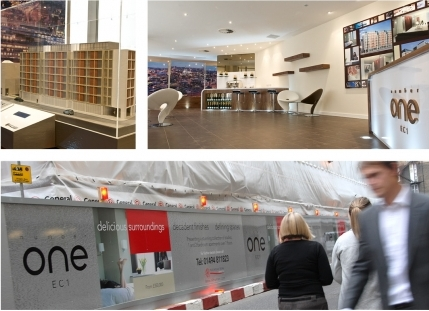 Marketing suite, hoardings and model - Nicholas King Homes, London EC1