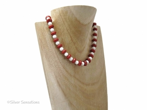 Red Coral and White Agate Beaded Necklace With Sterling Silver Clasp