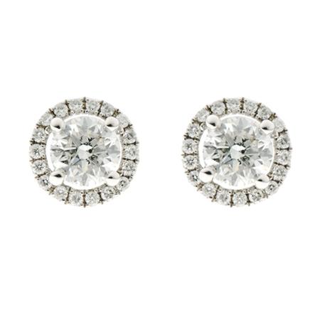 Diamond Halo Cluster Earrings