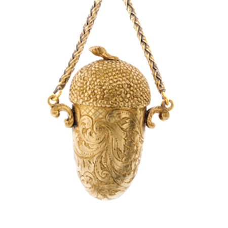 Rare Gold Pomander, in the form of an Acorn