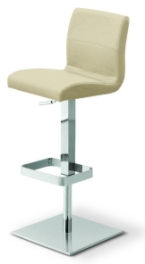 Delilah Gas Lift Stool, Premium Quality Italian Leather, Cream Colour