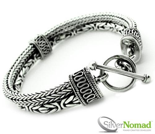 925 Sterling Silver Borobudur Byzantine Snake Weave Bracelet by Slver Nomad Jewellery UK