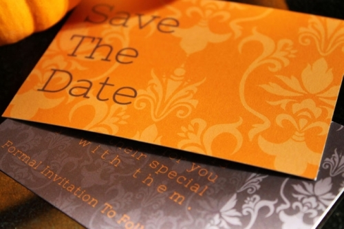 WBD Orange Damask Save The Date Card