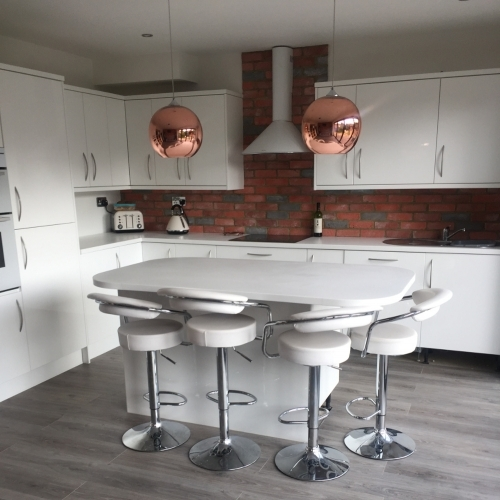 Premier Red and Grey Brick Cladding - Used As A Splashback