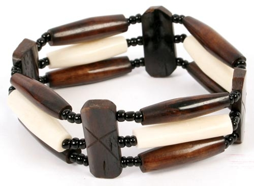 Bone Tubes Bracelet in Brown & Cream