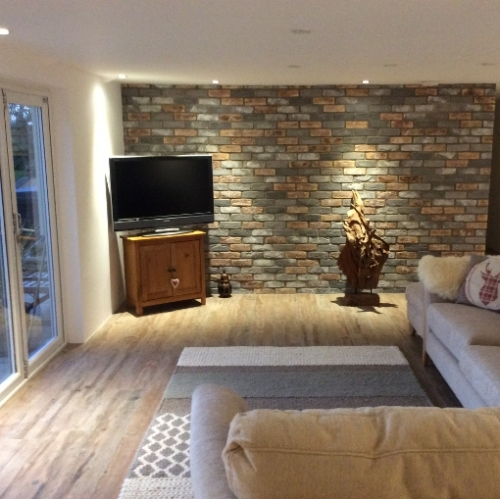 Brindle Blend Brick Slips Used On Feature Wall