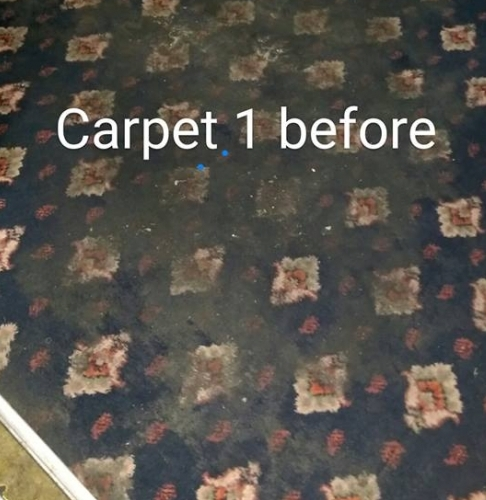 Dirty function room carpet before cleaning