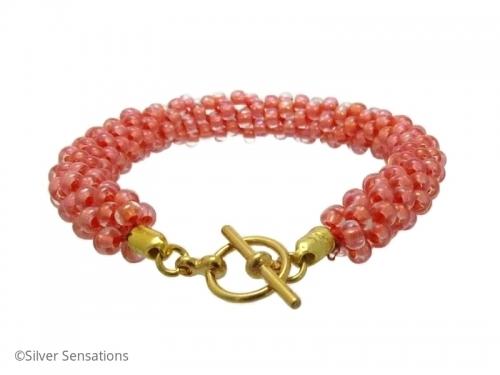 Pastel Peach Orange KumihimoSeed Bead Fashion Bracelet