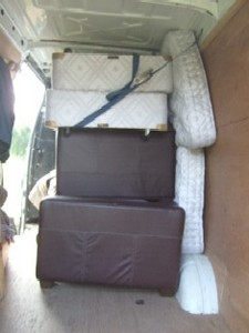 sofas and beds strapped in