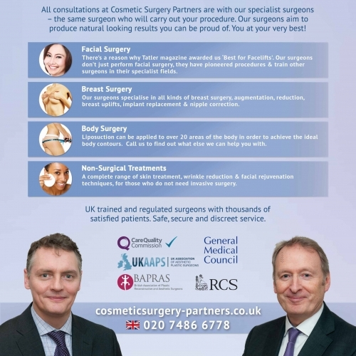 An overview of services provided at Cosmetic Surgery Partners