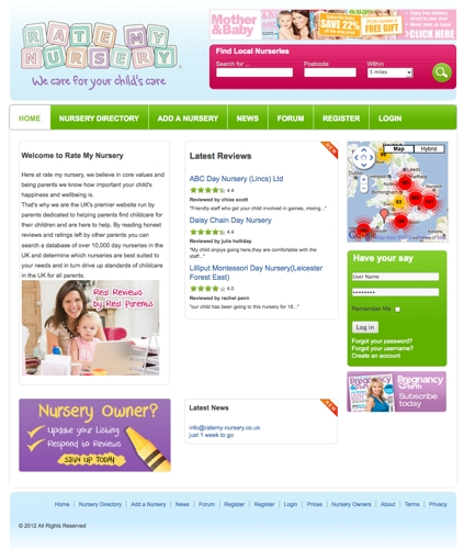 Rate My Nursery Joomla website