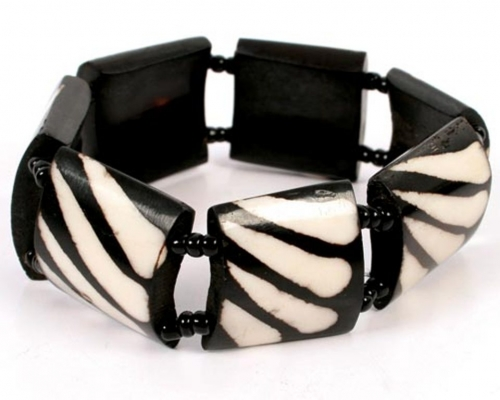 Bone Bracelet with Square Beads, Zebra Pattern