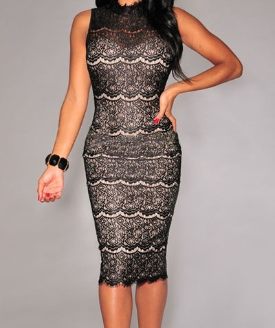 Black Lace Mock Neck Midi Dress