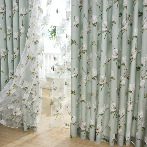 Voila Voile Morning Flower Mint Green Curtain