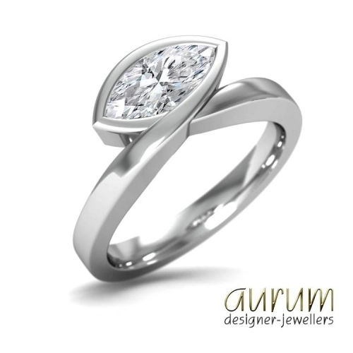 Infinity engagement ring with a 1.50ct marquise diamond