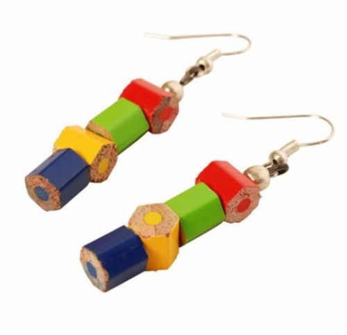 Recycled Pencil Crayon Drops Earrings, Multi-Coloured