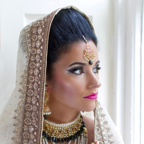 Beautiful Asian bride at Harburn House, near Edinburgh