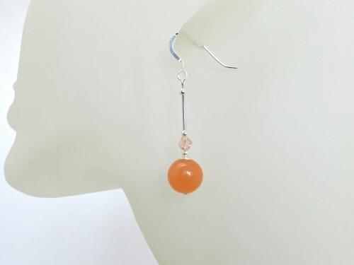 Elegant Peach Jade Crystal Earrings
