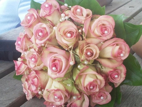 rose and pearl wedding bouquet