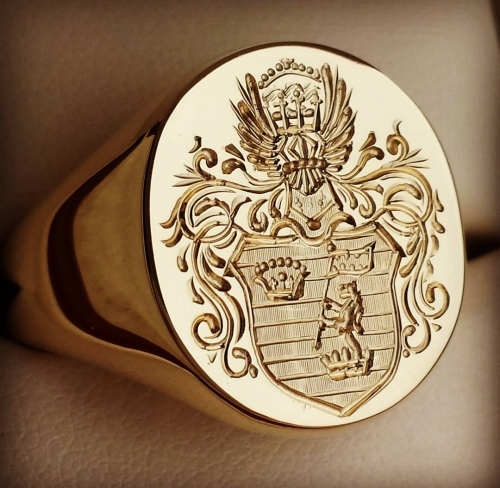 Deep For Show Coat Of Arms on large gold signet ring