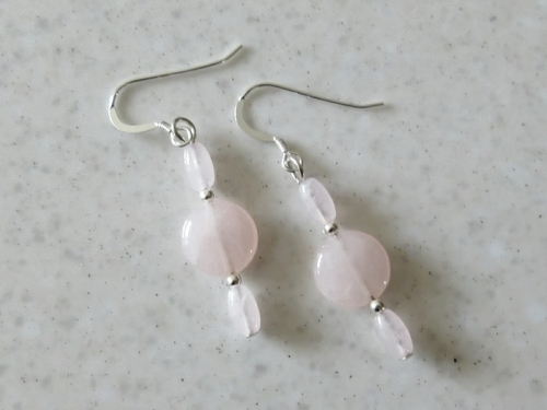 Pink Rose Quartz Beads Heart Chakra Earrings