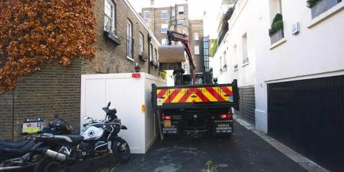 Mini Grab Truck Hire London - for narrow mews in London