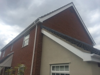 Fascia and soffits on a gable end of a house