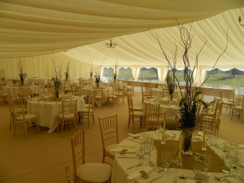 Wedding marquee dining area