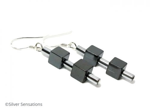 Ladies Grey/Black Silver Hematite Cubes Geometric Earrings