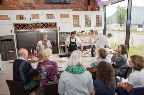 Cooking demo to promote kitchen designer
