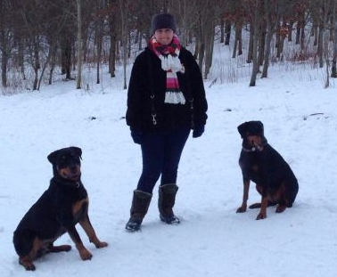 Gill and her dogs.