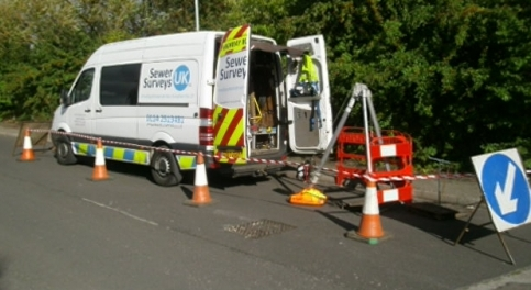CCTV survey unit setup on the highways including confined space entry