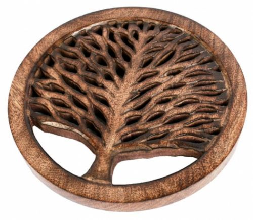 Hand-carved Mango Wood Trivet with Tree of Life Design