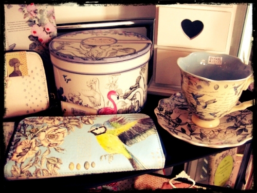 Lovely Disaster Designs purse and tea cup.