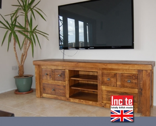 Rustic Plank TV Media Unit handmade to order by Incite Interiors Derbyshire
