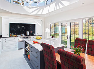 Shaker kitchen with island contrast