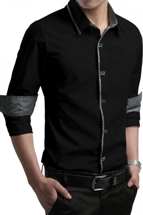 Classy Trim Long-sleeve Mens Shirt