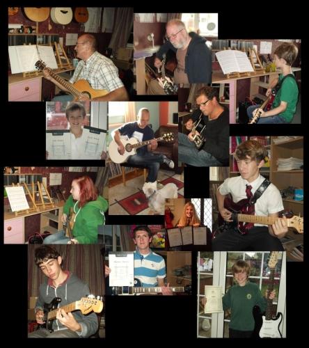 a few guitar students