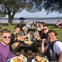 Work do! Trying the fabulous food at the local waterside pub!