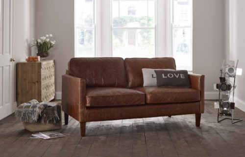 Columbus Small Leather Sofa